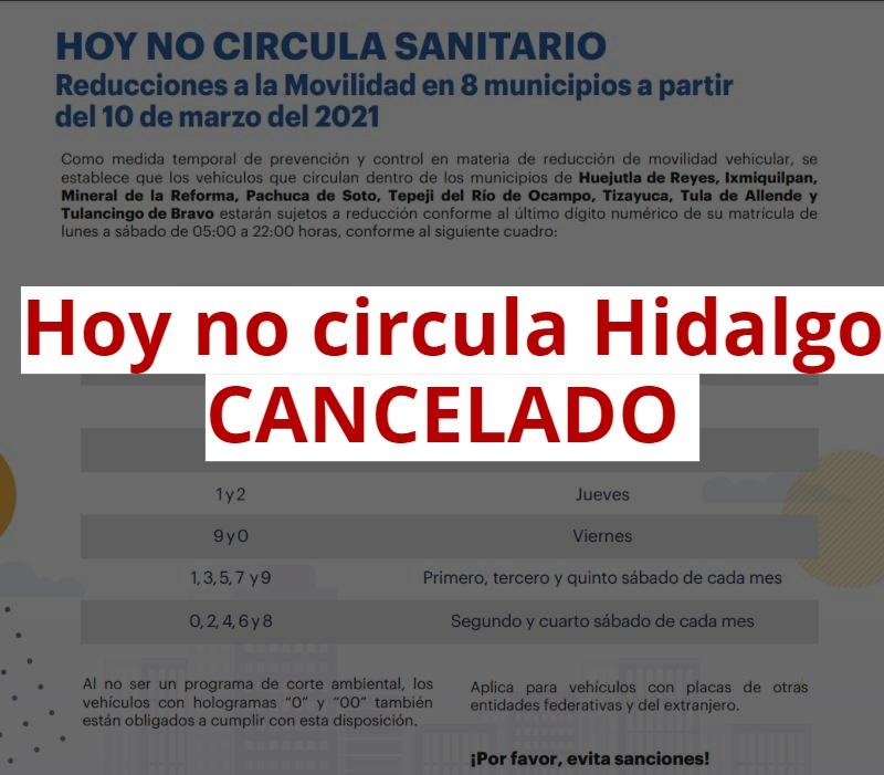 hoy no circula tulancingo hidalgo cancelado